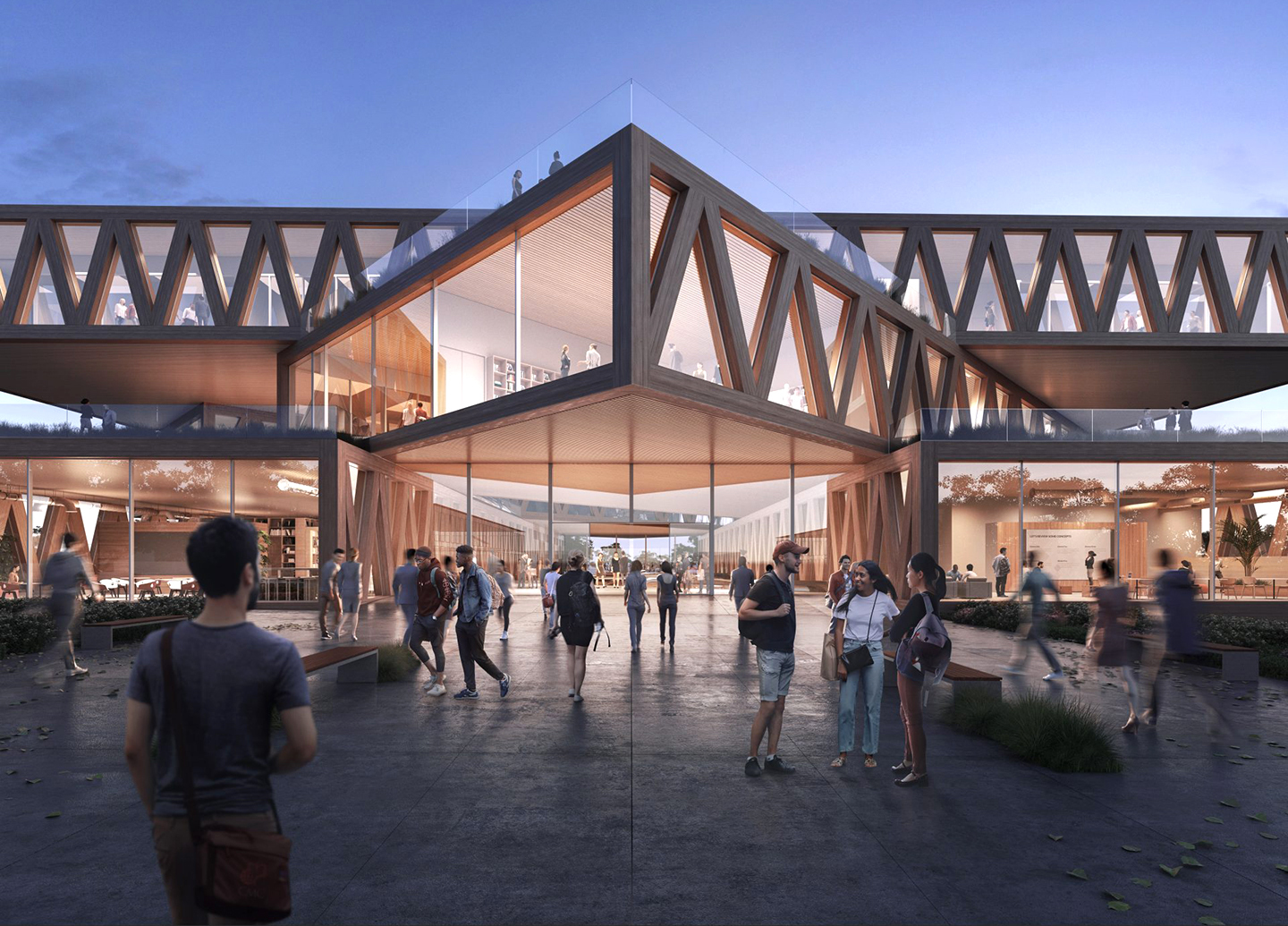 Artist rendering of the entrance of the coming Integrated Sciences building.