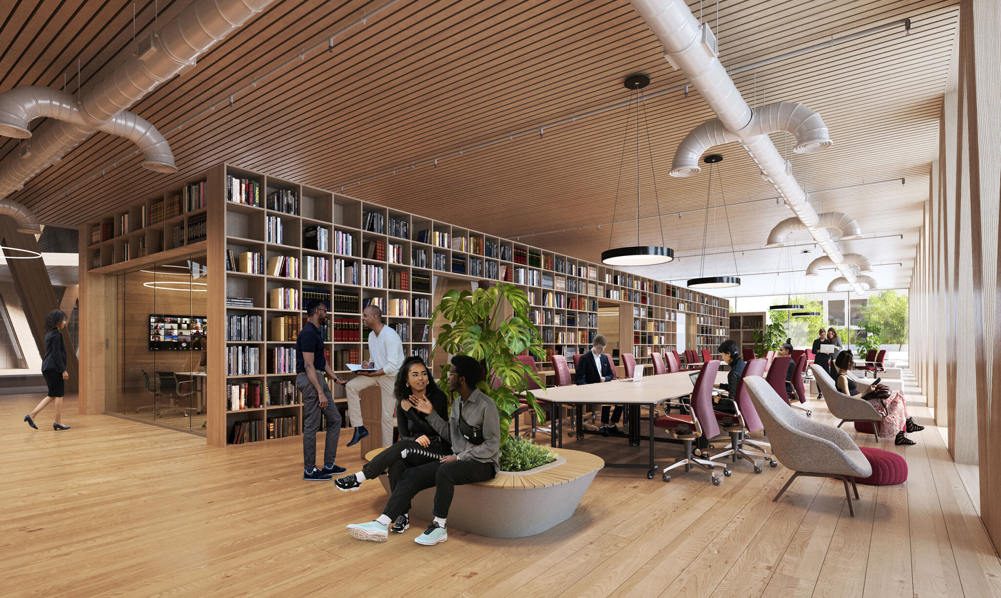 Artist rendering of the Innovation Hub inside the coming Integrated Sciences building shows students and faculty sitting around a large, wood paneled space near floor to ceiling windows and smaller room in the back encased by a custom, wooden floor-to-ceiling bookshelf and glass door.