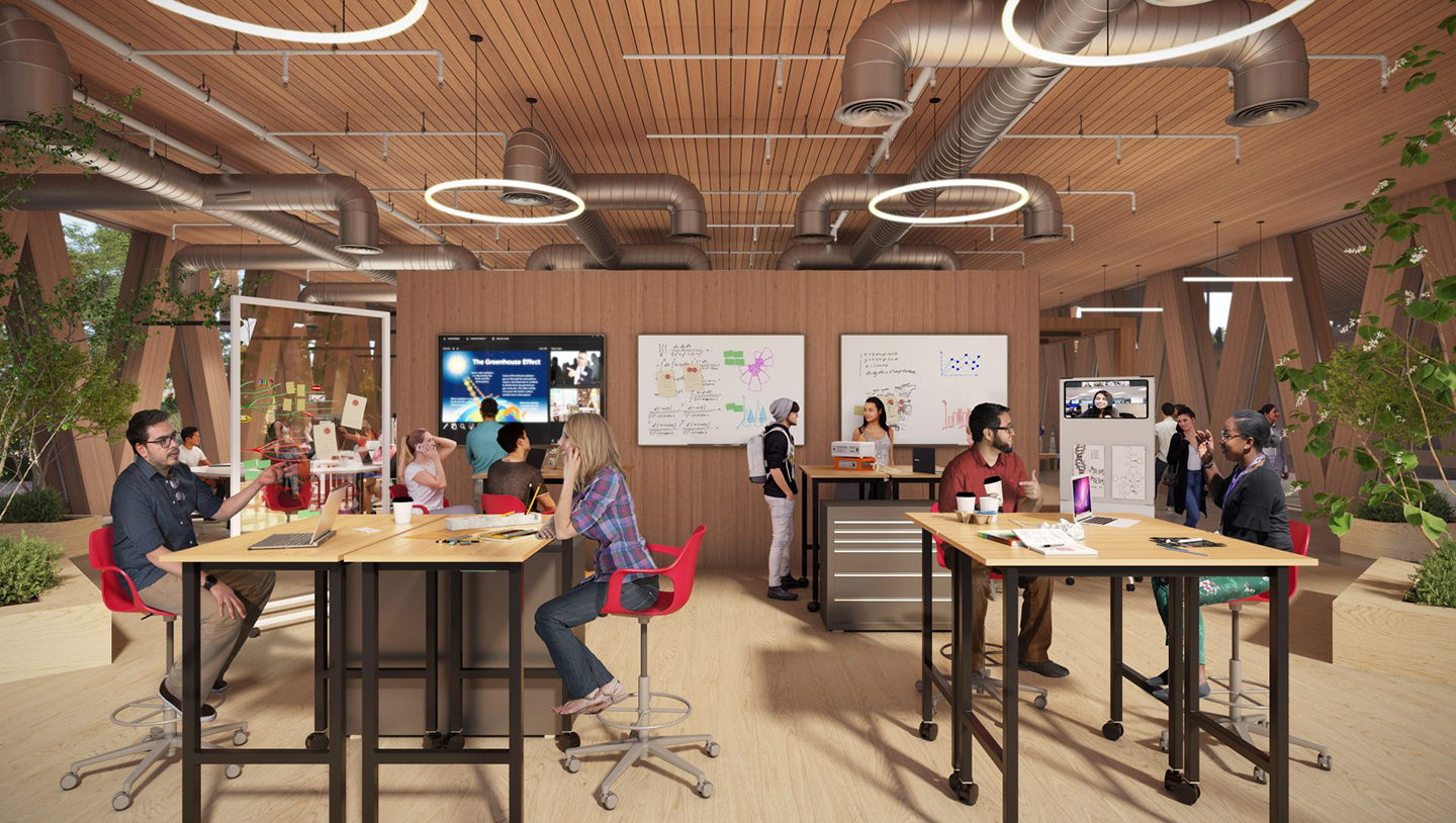 Artist rendering of the Workshop space inside the coming Integrated Sciences building shows students sitting at modular tables in plenty of natural light, indoor greenery, and light colored wood from floor to wall to ceilings.