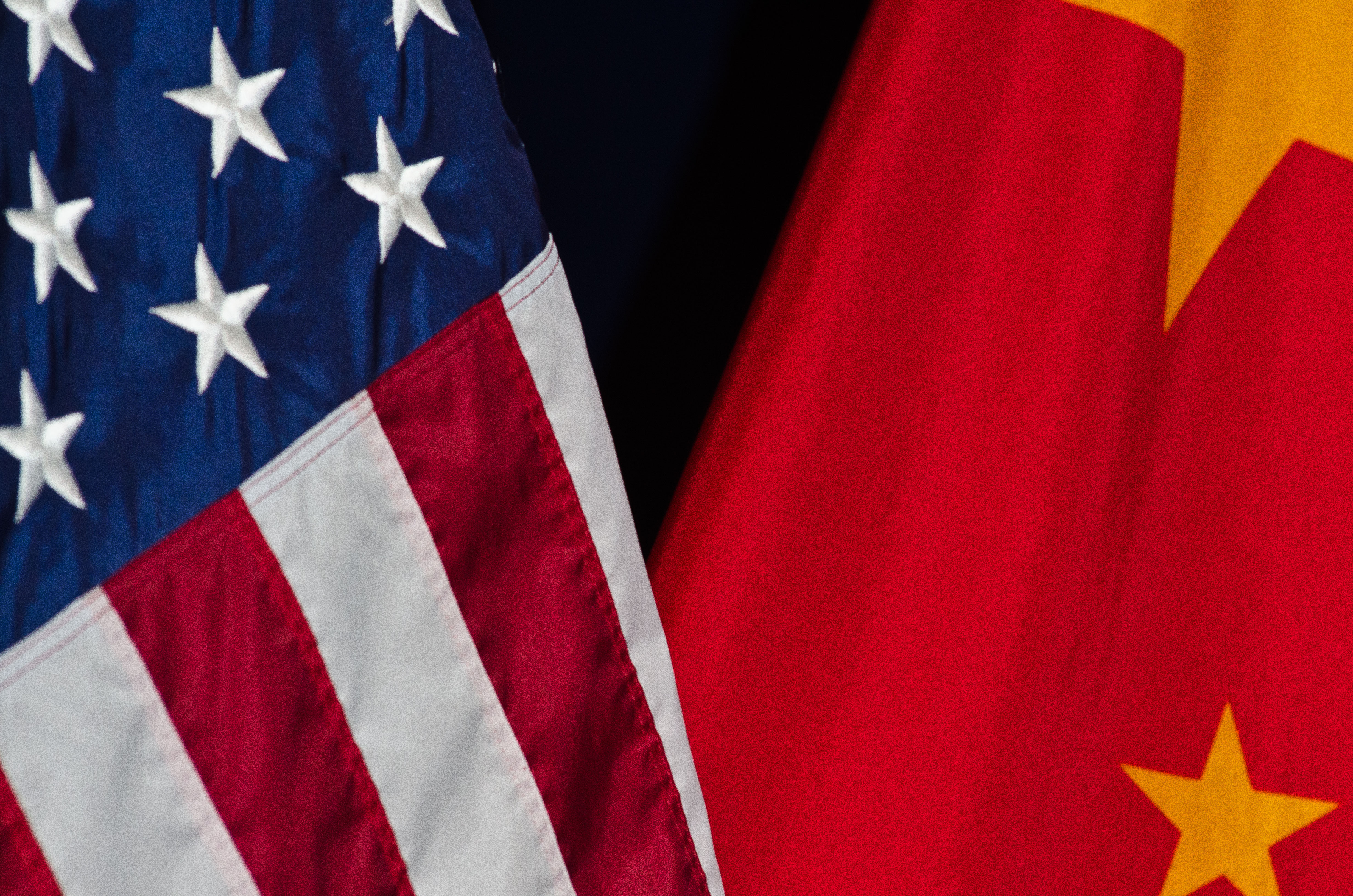 U.S. and China flags hanging side-by-side