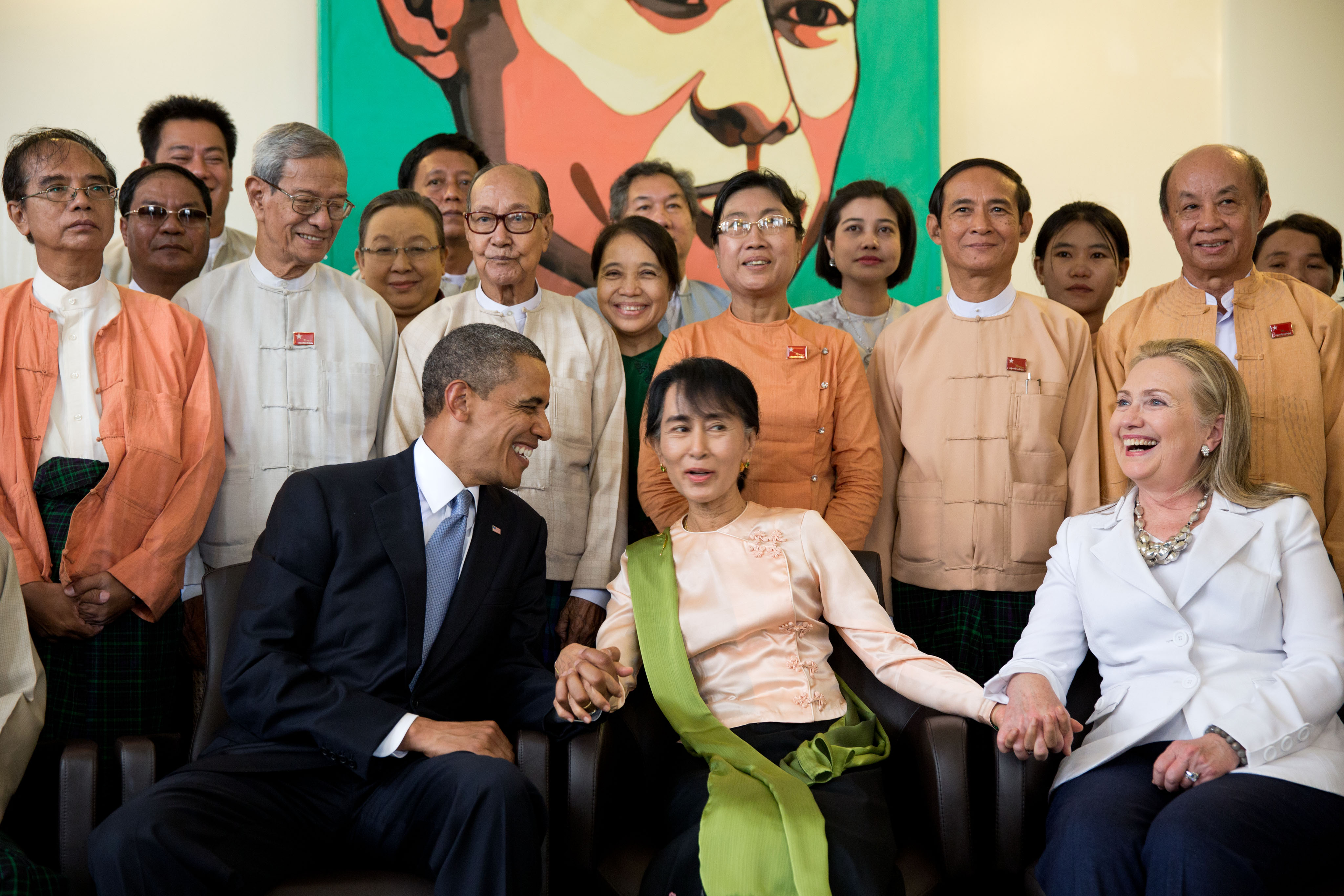 Obama and Clinton with Aung San Suu Kyi