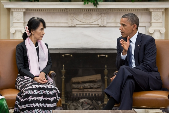 President Obama meets with Aung San Suu Kyi in the Oval Office