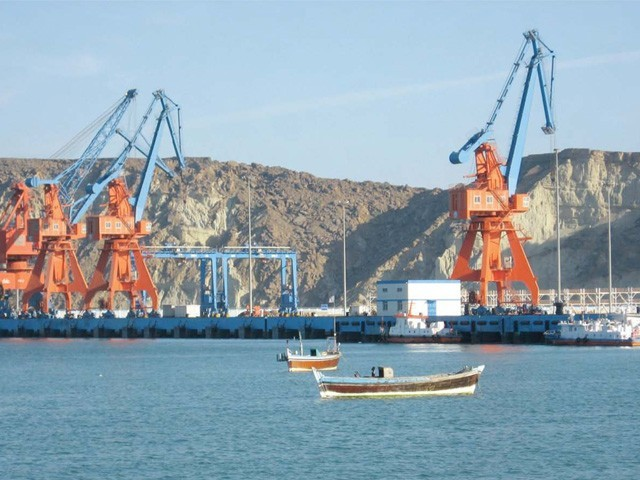 Photograph of some cranes at Gwadar Port