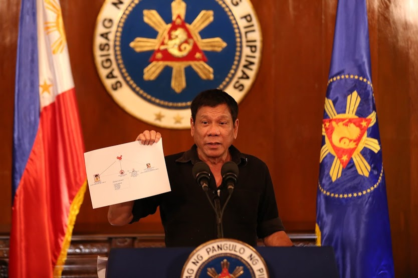 Rodrigo Duterte showing a diagram of a drug trade network