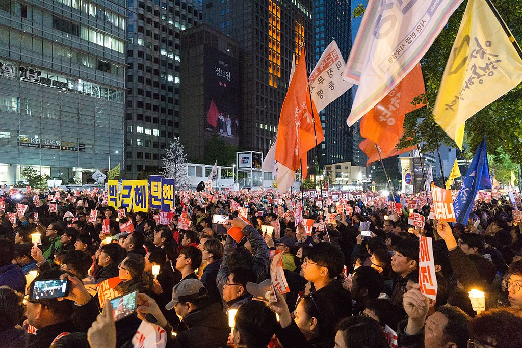 Mass protest in Cheonggye Plaza