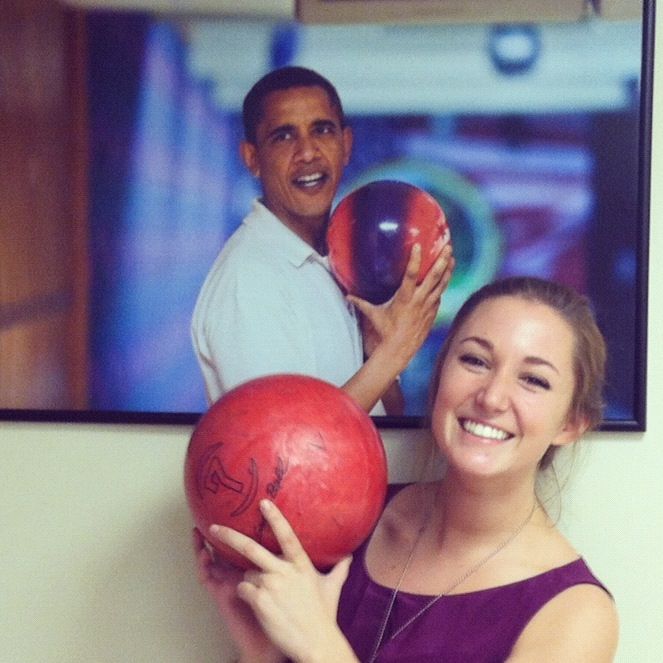 Katie Rodihan with a bowling ball