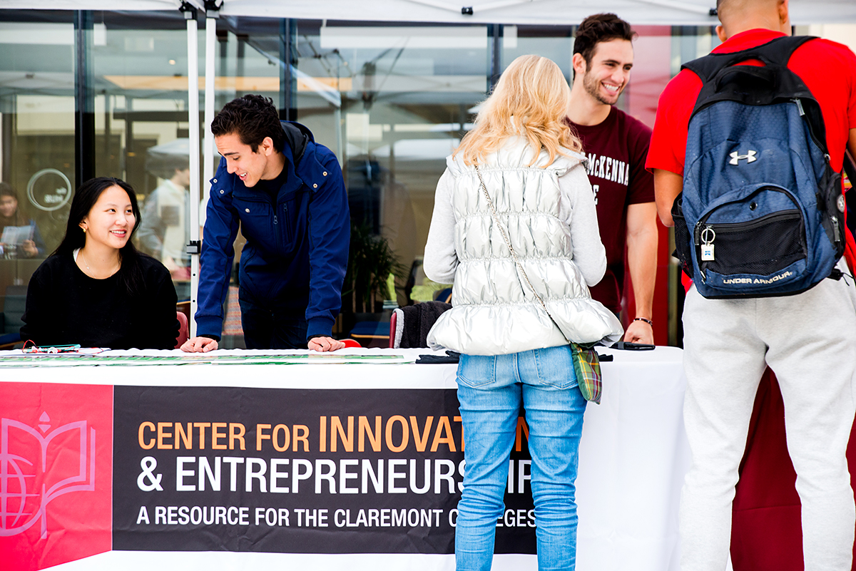 Students at CIE information table