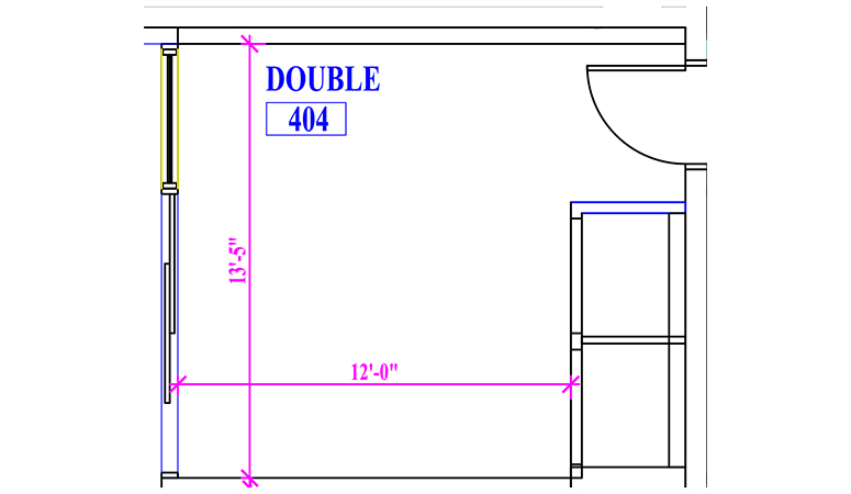 Floor plan of a double in Fawcett