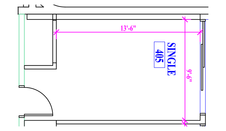 Floor plan of a single in Fawcett Hall