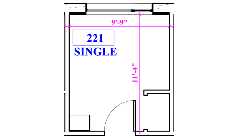 Floor plan of a single in Beckett