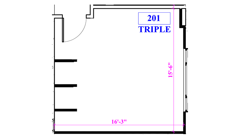 Floor plan of a triple in Beckett