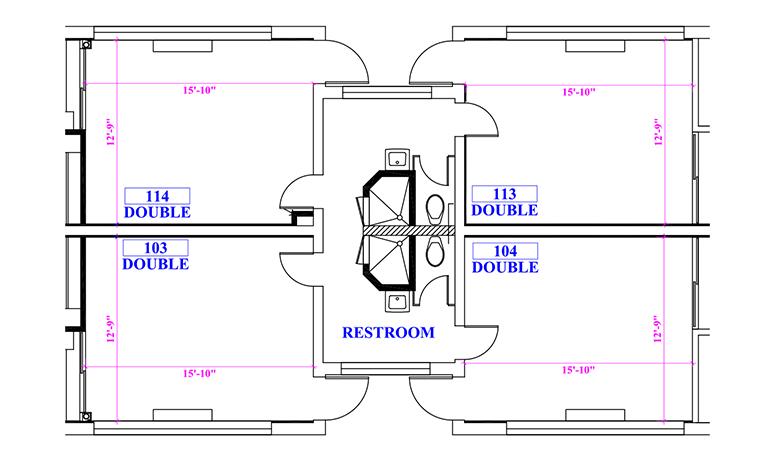 Floor plan of suite in Green Hall
