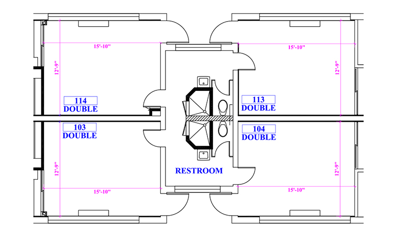 Floor plan of a suite in Wohlford Hall