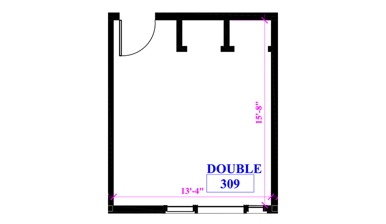 Floor plan of a double in Claremont Hall