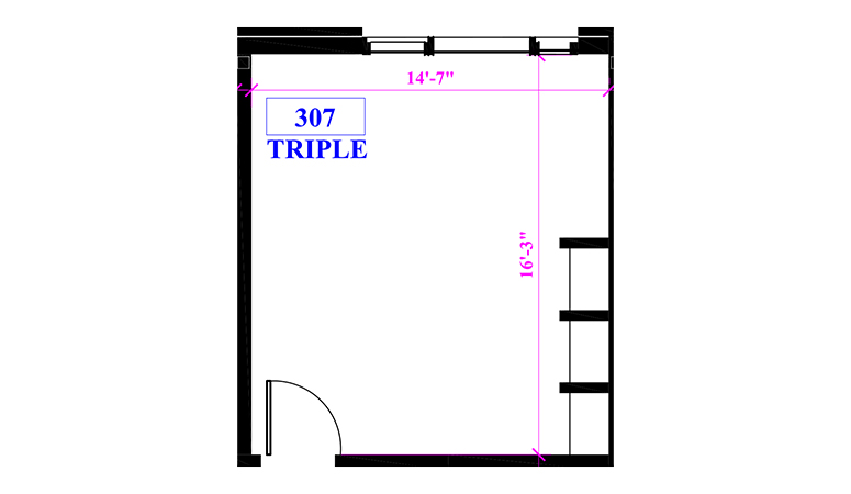 Floor plan of a triple in Claremont Hall
