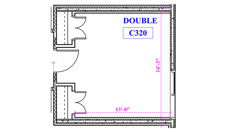 Floor plan of a double in Crown Hall