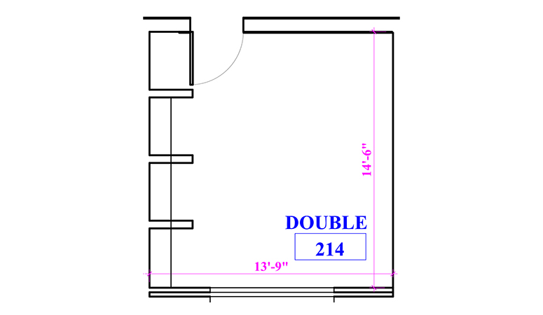 Floor plan of a double in Marks Hall