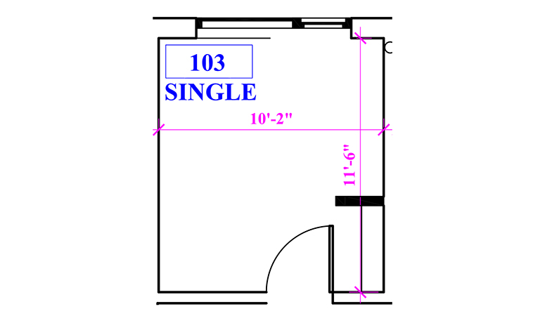 Floor plan of a single in Marks Hall