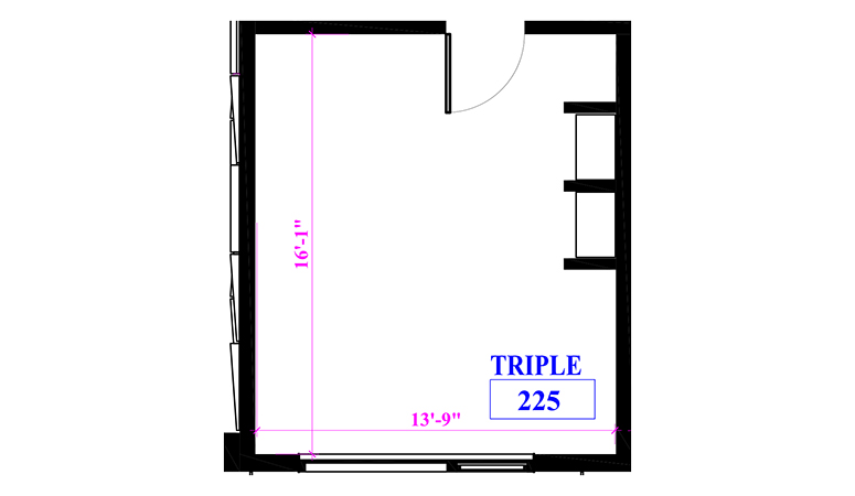 Floor plan of a triple in Marks Hall