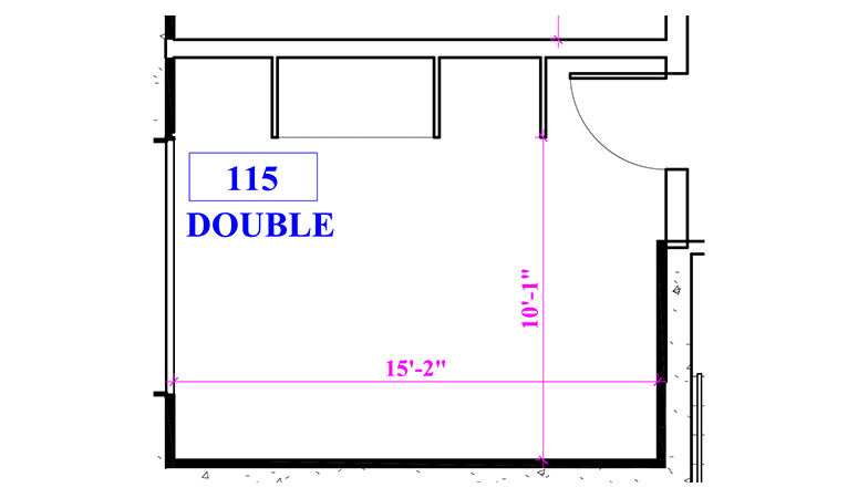 Floor plan of a double in Phillips Hall