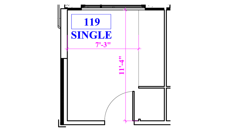 Floor plan of a single in Phillips Hall