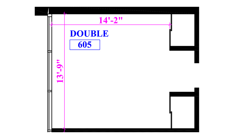 Floor plan of a double in Stark Hall