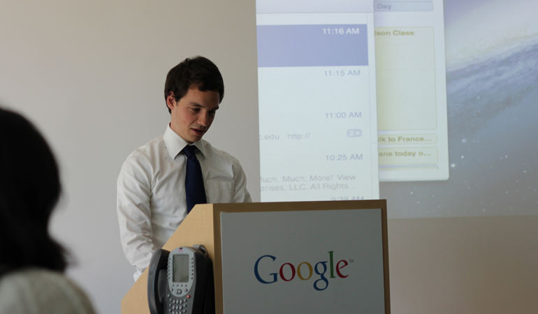 Student in SVP at Google podium
