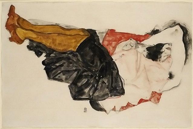 """Egon Schiele's """"Woman Hiding Her Face"""""""