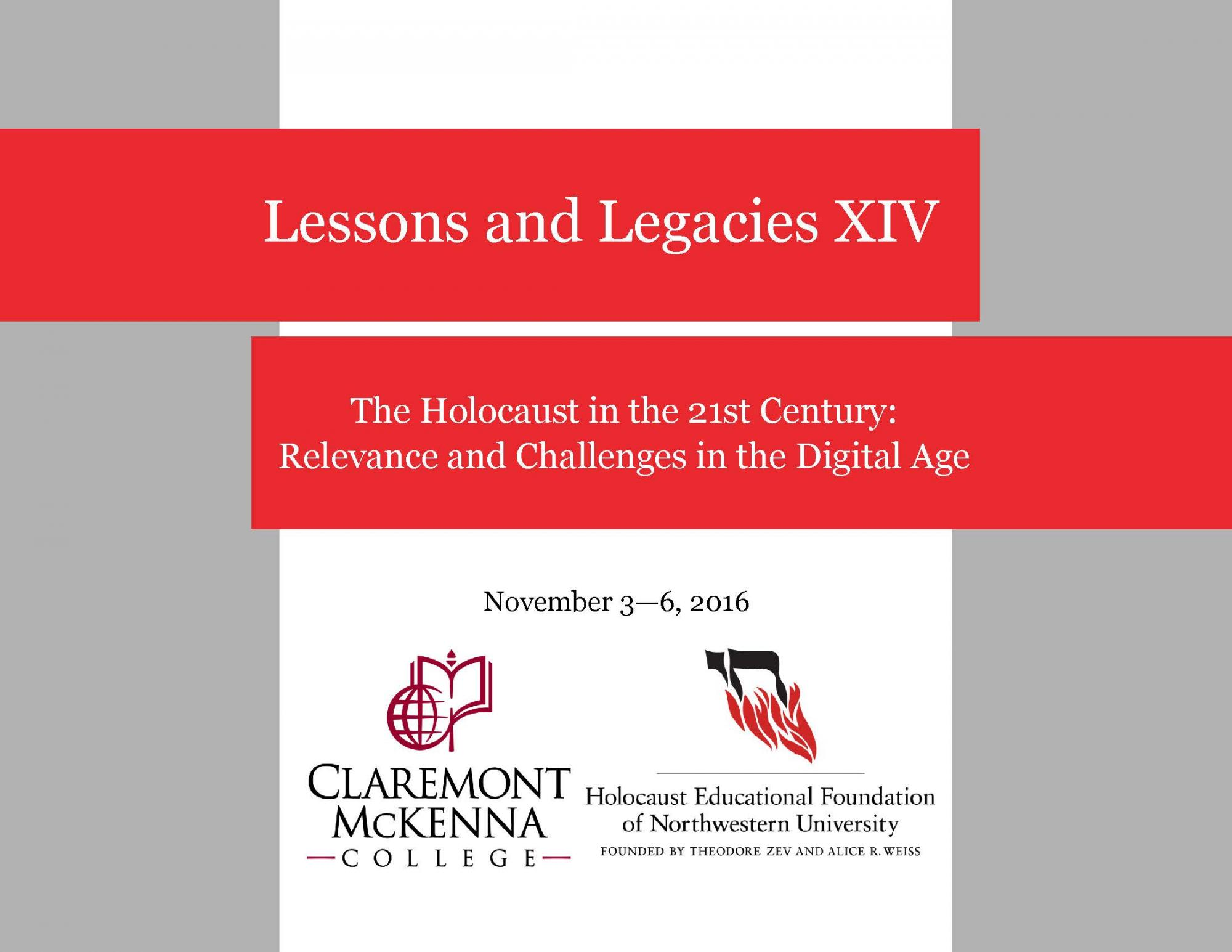 Lessons and Legacies conference flyer