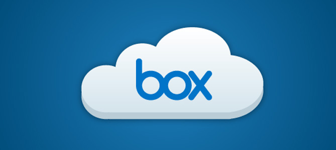Box cloud logo with a blue background
