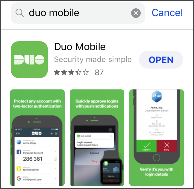 "Duo Mobile iOS App Store Search Result with Duo Mobile app article displayed with ""OPEN"" button"