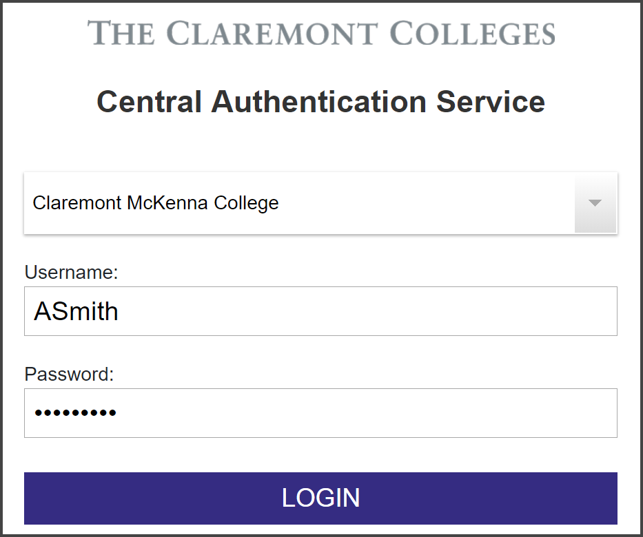 "The Claremont Colleges Central Authentication Service with example login prompt for CMC users ""ASmith"""