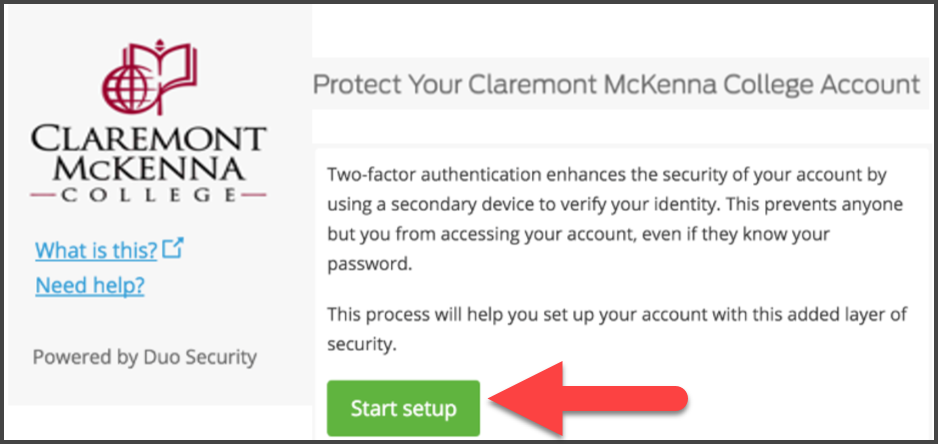 "CMC Duo ""Protect your Claremont McKenna College Account"" Screen with arrow pointing to Start Setup"