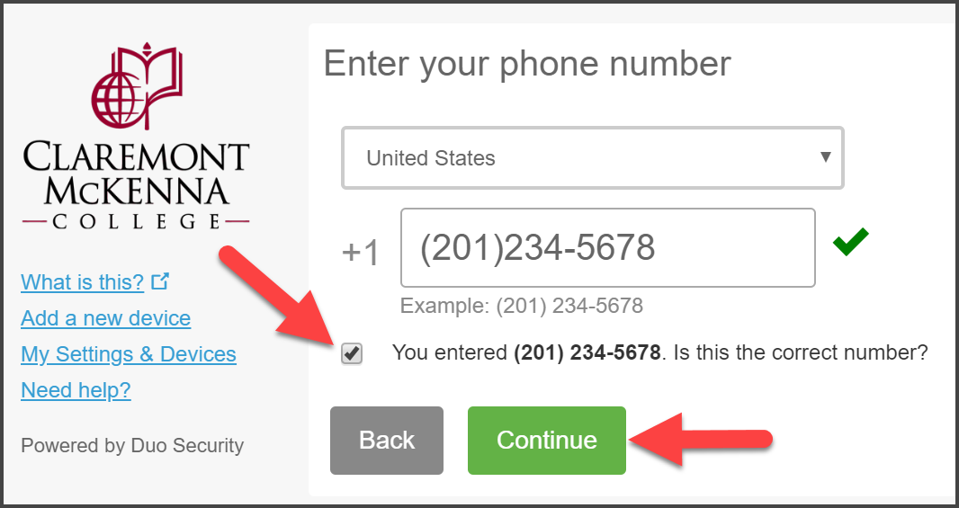 "CMC Duo ""Enter your phone number"" Page with Phone Number (201)234-5678 with green-mark check and arrow pointing to Phone Number confirmation and Continue"