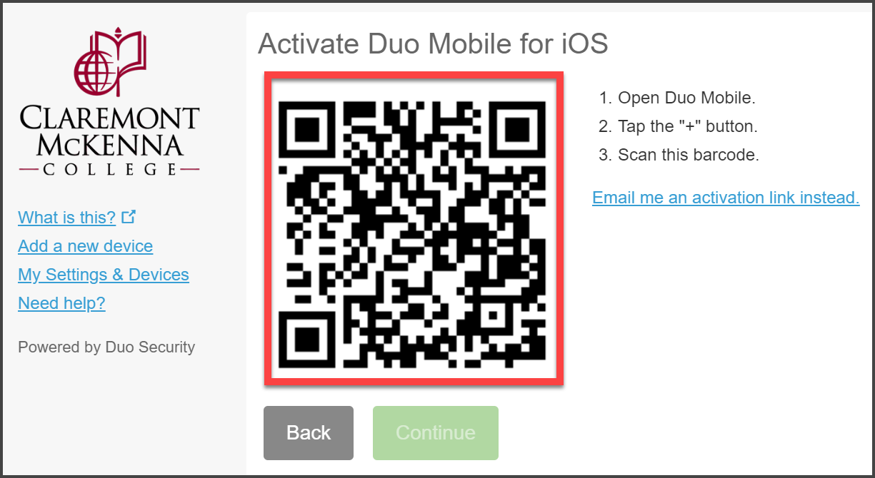 "CMC Duo ""Activate Duo Mobile for IOS"" with red bandbox over QR code"
