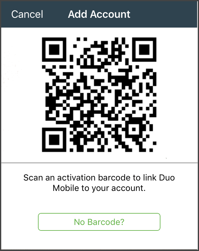 "Duo Mobile app interface: ""Add Account"" page with QR Code over area where camera is utilized by device to capture QR code"