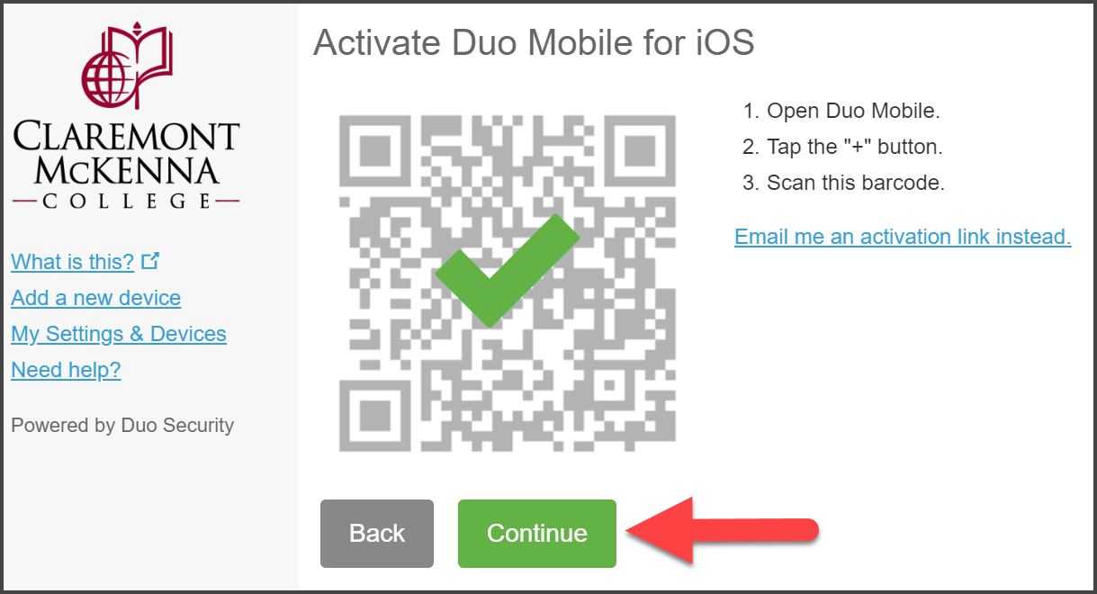 "CMC Duo ""Activate Duo Mobile for IOS"" with green checkmark over QR code and arrow pointing to Continue"