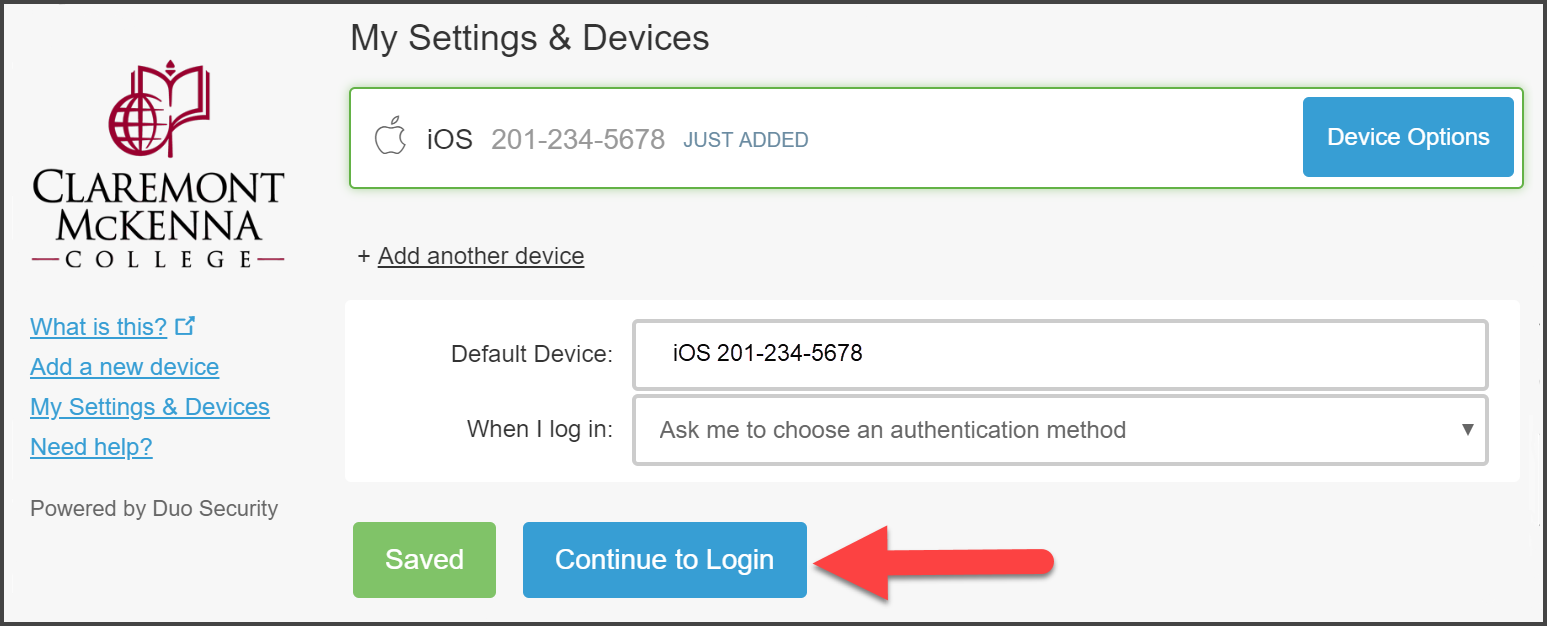 "CMC Duo ""My Settings & Devices"" page with iOS Mobile Phone device just recently added with it set as Default Device and ""Ask Me to Choose an authentication method"" with arrow pointing to ""Continue to Login"""