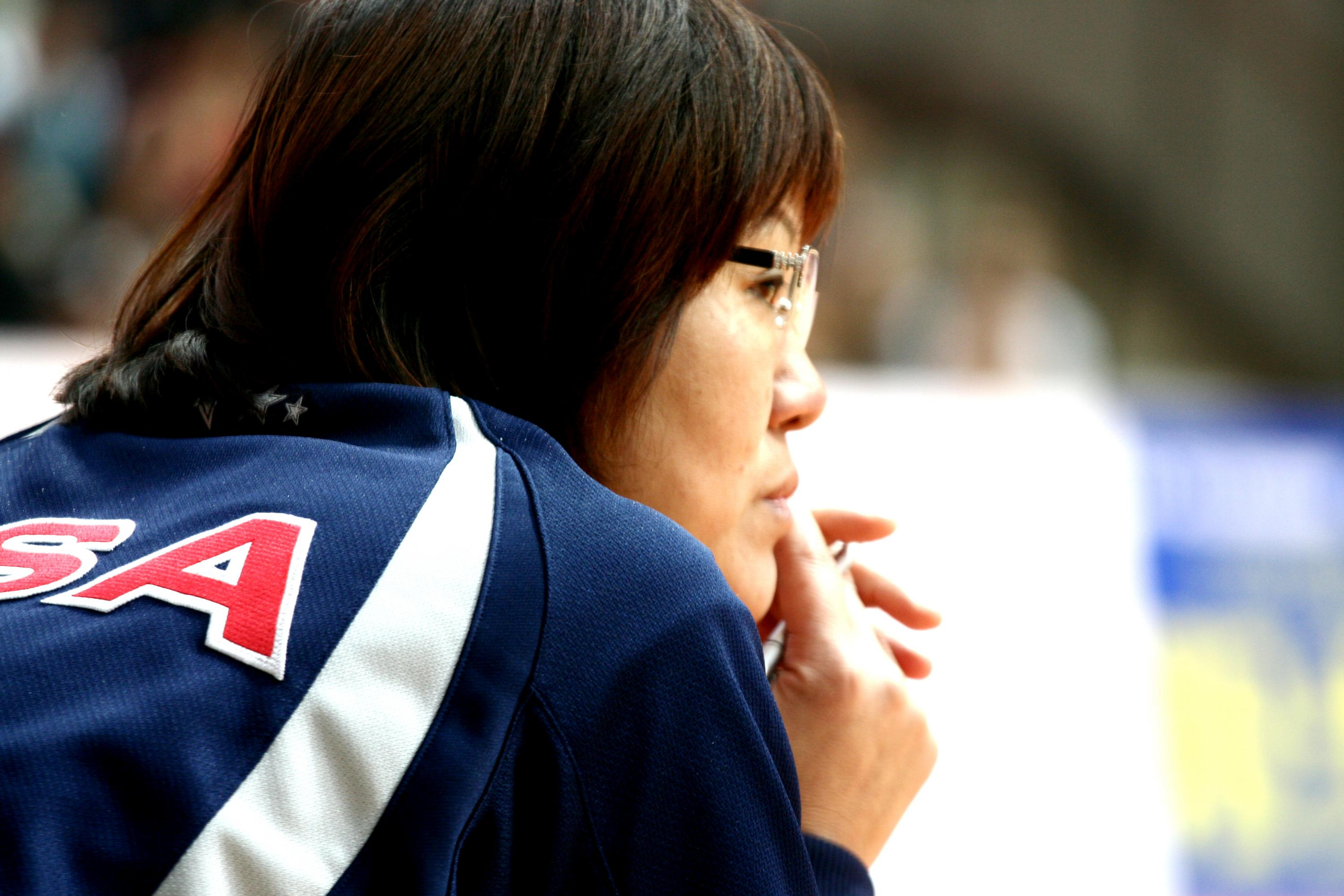 Close-up photo of Jenny Lang during a sports game.