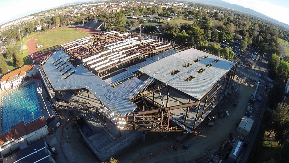 Drone view of Roberts Pavilion construction, Spring 2015 (Photo courtesy of Bryce Raygour, son of CMS Women's Soccer Coach Keri Sanchez)
