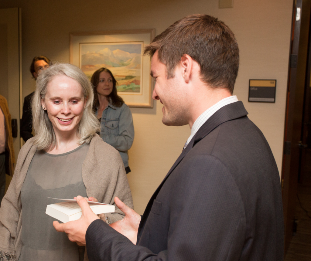 SIGN MY BOOK? Athenaeum Fellow Ben Tillotson '15 with novelist Mary Gaitskill after her evening reading at the Athenaeum this spring.