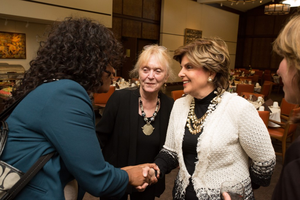 Bonnie Snortum (middle) with Gloria Allred (right) at the Athenaeum in 2013.