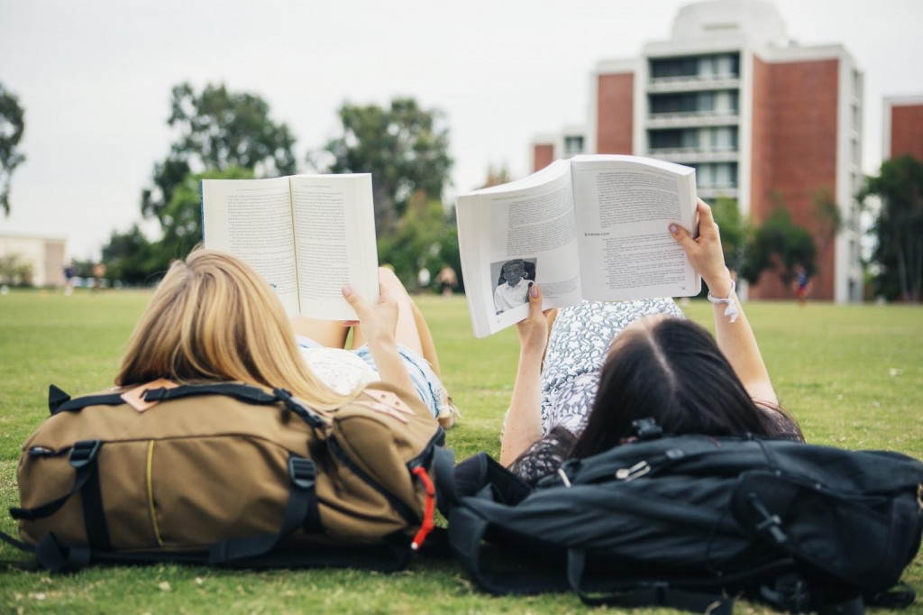Students studying on Parents Field