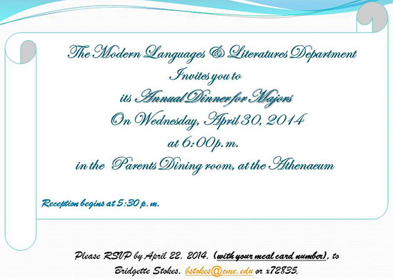 2014 Honors Invitation