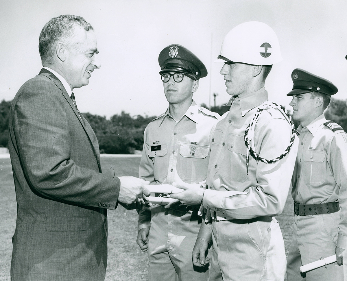 CMC president with military science cadets