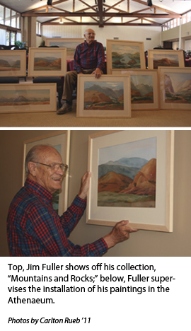 James Fuller holding his artwork titled: Mountains and Rocks