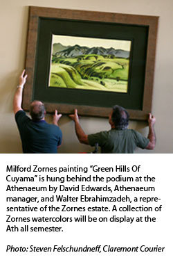 Milford Zornes and his painting titled: Green Hills Of Cuyama