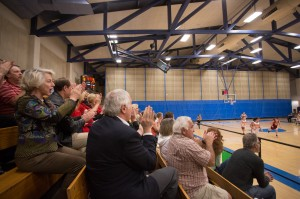 President Gann at the CMS women's basketball team's Feb. 14 game at Pomona-Pitzer.