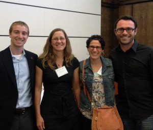 keynote speaker Hilary Hoynes (second from left), with CMC professors Heather Antecol and Serkan Ozbeklik