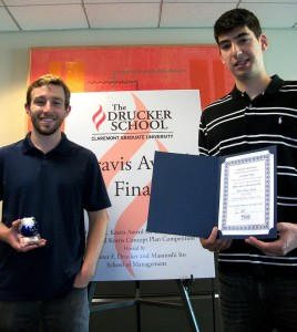 Miles Bird (left) and HMC teammate Demitri Monovoukas, with UofPenn students Collin Hill and Aaron Goldstein, won first place for their Life Patch invention.